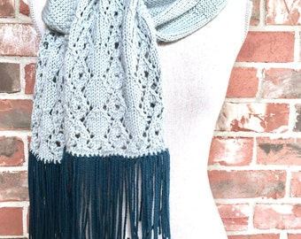 Knitting Pattern Diamonds and Lace Scarf DIY Christmas Gift WWKIP Day