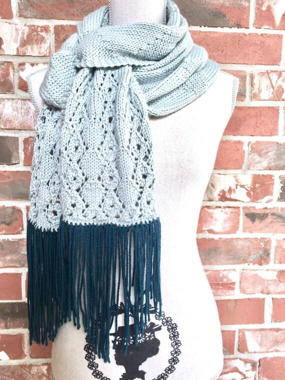 Knitting Pattern Diamonds and Lace Scarf DIY Christmas Gift