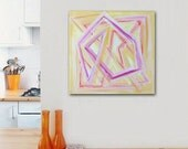 "12""x12"" Original Abstract Painting - Contemporary Wall Art Decor - dynamic shapes - zig zag - yellow pink"