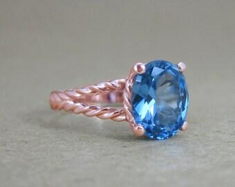 Rose Gold Ring, Blue topaz engagement ring, Blue topaz rope ring, Blue topaz white gold ring, Gold oval ring, White gold twisted rope ring,
