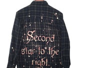 Peter Pan Shirt in Navy Blue Plaid Flannel. The second star to the right Disney song lyrics quote tinker bell fairy dust tshirt tees graphic