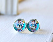 sweet sugar skulls post earrings, stud, silver plated, dia de los muertos, colorful, day of the dead