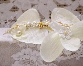 Orchid flower Hair piece wedding flower headpiece bridal hair jewelry wedding hair flower wreath bridal flower hair clip bridal headpiece