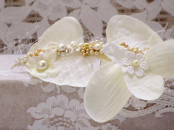Orchid flower Hair piece wedding flower headpiece bridal hair jewelry wedding hair flower wreath bridal flower hair clip bridal headpiece