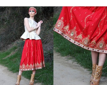 Skirt Vintage 70s CEREMONIAL JEWELED Embroidered GOLD Red Midi Skirt // Vintage Skirts by TatiTati Style on Etsy