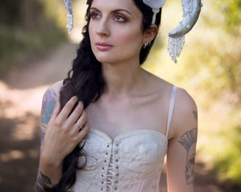SALE Pearl Ram Horn 'Esme' Couture Lace Floral Headdress