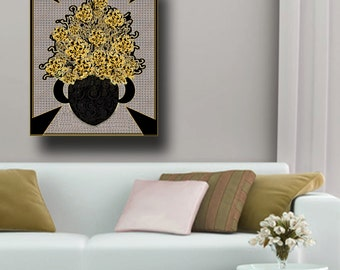 modern wall art, masculine art, contemporary floral painting, cabbage roses painting, yellow and black wall art, abstract canvas large art