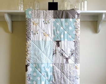 Baby Quilt Woodland - Fawn in Aspen - Modern Crib Quilt, Aqua, Taupe, Tan, White, Grey, Deer, Antlers, Feathers, Nursery Crib Bedding
