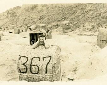 "Vintage Photo ""She Wanted 368"" Beach Snapshot Photo Old Antique Photo Black & White Photograph Found Photo Paper Ephemera Vernacular - 135"
