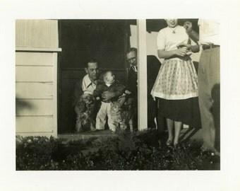 "Vintage Photo ""Family, Puppy and Mr. Kitty"" Animal Snapshot Old Antique Photo Black & White Photograph Found Paper Ephemera Vernacular - 47"