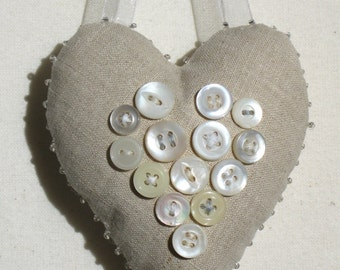 White linen Valentine heart ornament with vintage buttons and embroidery, keepsake valentine