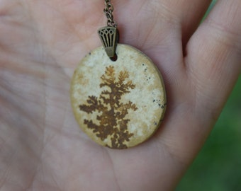 "Dendrite Necklace , ""from the roots"", Geology & Jurassic-Era Dendritic Limestone Jewelry, Nature, Fossil, Prehistoric, Ancient, Stone"