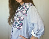 90s Floral Button Up Color Block Striped Top Boho Folk Vintage Long Sleeve Shirt Blue White Tapestry Medium M / Large L