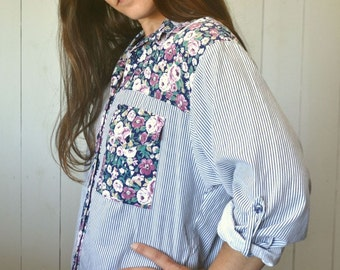 Floral Color Block Button Up Early 90s Blue White Striped Boho Folk Vintage Oxford Shirt Medium Large