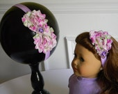 """Doll & Me Headband Set Floral Floral Print Flower w/ Rhinestone Center Girl and 18"""" Doll Accessory Christmas Birthday Gift Princess Dress up"""