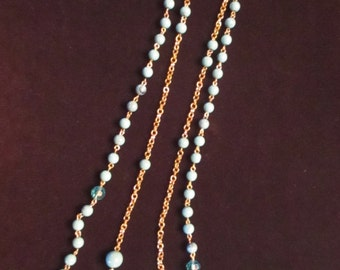 Vintage Double Strand Necklace Faux Turquoise Beads Costume Jewelry Goldtone Links YourFineHouse SHIPSWORLDWIDE