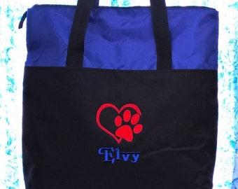 Pet Travel Tote Bag Personalized Monogrammed Dog Cat Monogram Name