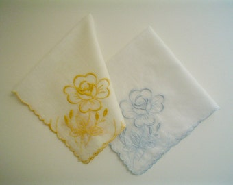 Hankie Pair with Embroidered Roses Blue and Yellow Vintage Handkerchief Set