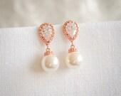Bridal Earrings, Wedding Pearl Earrings, Swarovski Pearl Drop Dangle Earrings, Crystal Earrings, Rose Gold, Wedding Bridal Jewelry, ABELIA
