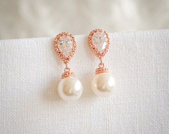 Bridal Earrings, Wedding Pearl Earrings, Swarovski Pearl Drop Dangle Earrings, Crystal Earrings, Rose Gold, Wedding Bridal Jewelry, ABELIA