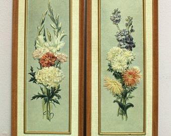 Ninetta Framed Raised Flower Print Pair 1960