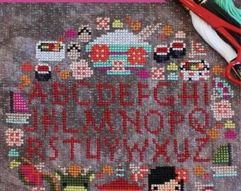 Cherry Blossom Festival Sampler No. 103 : The Frosted Pumpkin Stitchery cross stitch patterns dragon Japanese kawaii fantasy