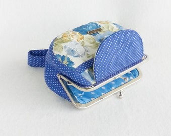 Lovely Blue Roeses Clutch Purse, Coin Purse, Metal Frame Purse