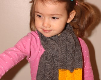 Gray and Yellow Scarf - Children's scarf - Girls Scarf - Children's knitted scarf -   Grey Scarf - Yellow and Gray Scarf