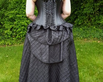 Black Diamond Pintucks Taffeta Ball Skirt with Removable Bustle - One Size Fits Most - Ready to ship
