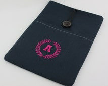 """12"""" Macbook pro case, 13"""" Laptop Case, Surface pro, Chromebook case with Wreath & Initial Embroidery"""