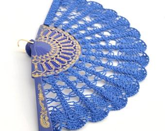 Snorkel Blue Lace Fan- Hand Held Fan- Gift for Her- Gift under 50- Lace Hand Fan- Folding Hand Fan- Spanish Wedding Fan- Bridal Fan- Mother