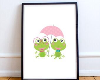Green frog, baby nursery decor, nursery wall art, girl nursery decor, nursery animal print, art for kids room, kids gifts, kids room decor