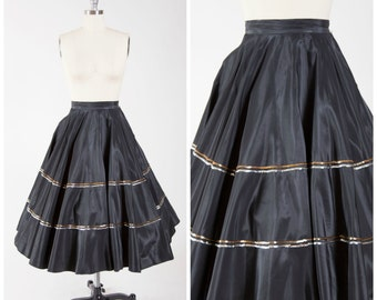 50s Vintage Skirt • Trolly Dolly • Black Vintage 1950s Full Circle Skirt with Sequins Details Size Small