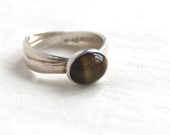 Tigers Eye Puzzle Ring Sterling Silver Size 7 .5 Vintage Mexican Jewelry Rolling Ring Two Band Stackable