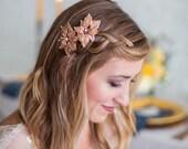 Gold Hair clip set, Rose Gold Hair Clip, Silver Wedding Headpiece, Silver Flower Clips, Bridal Hair Accessories, Gold Leaves Headpiece