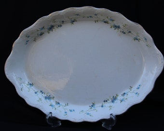 Antique Buffalo Pottery, Oval Platter, Forget-me-not Pattern