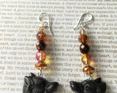 Wolf Earrings - OOAK - Made With Czech Crystals In Brown, Copper, Red and Orange Fall Jewelry Autumn Colored