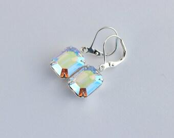 Swarovski AB earrings, Swarovski earrings, Aurora Borealis earrings, silver earrings, octagon earrings, aqua earrings, winter wedding SABO03