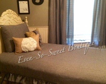 Gray pinstripe ruffled twin comforter with burlap bedskirt one sham and two coordinating decorative throw pillows