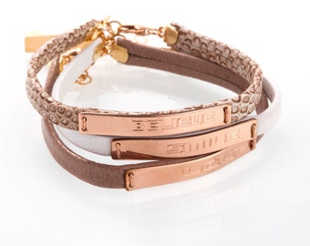 Petite Leather Bracelet, Rose gold personalized bracelet, silver name bracelet Personal engraving, Mother daughter Personalized gift