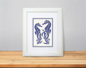 Seahorse print-Coastal print-Beachy print-home decor-seahorses print-Ocean wall art-Sea life print-Nautical print-print-NATURA PICTA-NPAG039