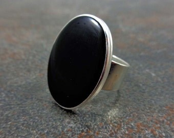 Statement Ring, Black, Silver, Oval Ring, Cocktail Ring, Rings for Women, Adjustable, Resin Ring, Statement Jewelry, Big Ring, Black Ring