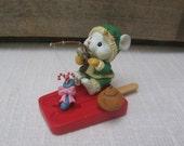 Mouse on Popsicle Boat, Christmas Ornament, Lustre Fame Ltd., Vintage Ornament, Plastic, Fishing Mouse, Tree Decor, Beach MyVintageTable
