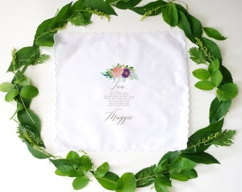 Wedding Handkerchief for MOTHER IN LAW. Printed handkerchief. Wedding handkerchief.
