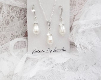 Pearl necklace and earrings set - Sterling Silver - Swarovski pearl and crystals ~ Brides jewelry set ~ Bridesmaids jewelry set ~ ANNIE
