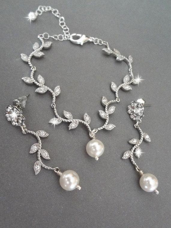 Hochzeitsschmuck  Perlen-Schmuck-Set Hochzeit Schmuck Blättern und Zweigen