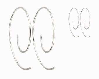 Silver Hoop Earrings - Sterling Silver Spiral Hoop Earrings - Small Silver Hoops - Swirl Hoop Earrings - Open Hoop Earrings - Hammered Hoops