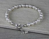Wedding Bracelet -  Pearl Bracelet - Swarovski Pearls