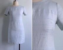 Vintage 60's Seafoam Green Raw Silk Shift Dress XXS XS