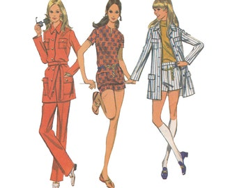 1960s Jacket, Flared Pants and Pull Over Top Bust 34 McCalls 2242 Easy to Sew Vintage Sewing Pattern Safari Suit Mod Hot Pants